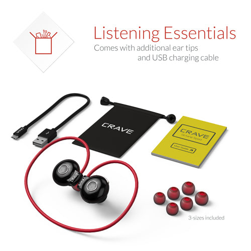 Red Bluetooth Earphones Crave Octane Sport Active Running Earbuds var-8119682859121