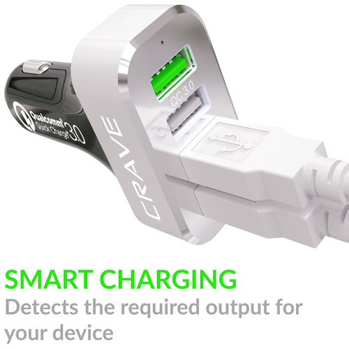 Crave USB Car Charger with Quick Charge 2.0 Black 4 Port QC CarHub