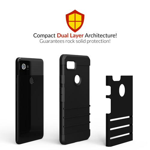 Black Google Pixel 2 XL Case Two Strong Guard Cover by Crave var-8119600578673
