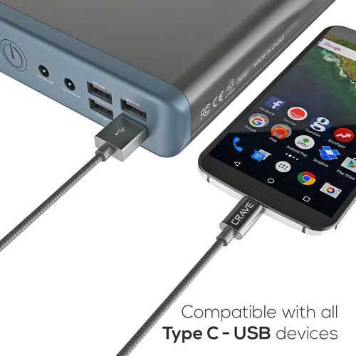 USB to Type C Braided Cable by Crave Dark Slate var-5011847872553
