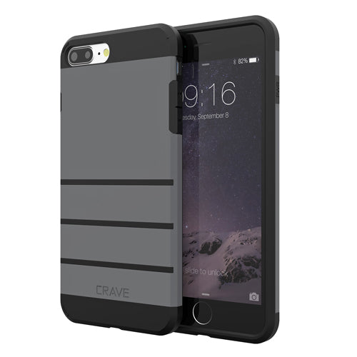 Grey Gray Apple iPhone 7 8 Plus Case Cover Crave Strong Guard var-4931111780393