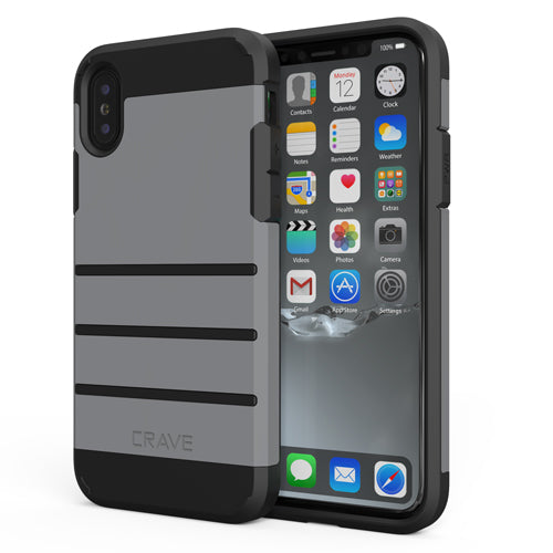 Grey Gray Apple iPhone X 10 Case Cover Crave Strong Guard var-4931111649321