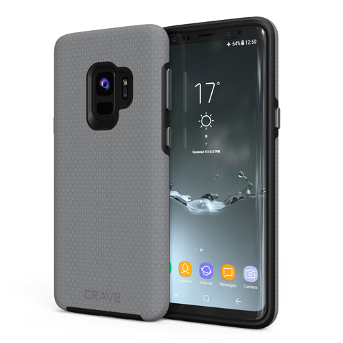 grey gray samsung galaxy s9 case cover by crave dual guard nine var-8116732952689