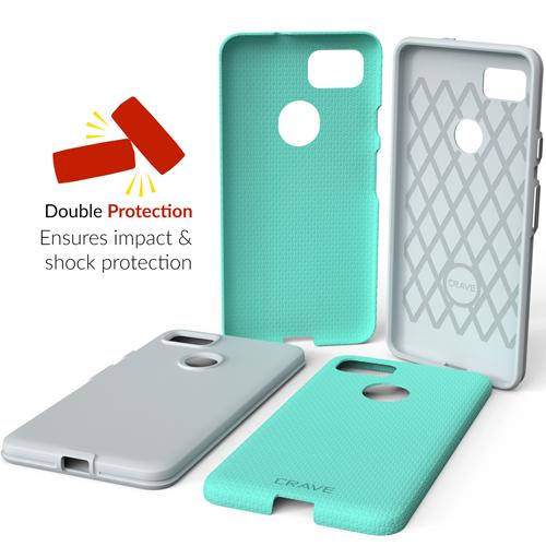 Mint Green Google Pixel 2 XL Case Two Dual Guard Cover by Crave var-8119624433777
