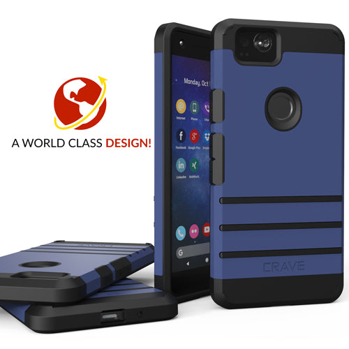 Navy Blue Google Pixel 2 XL Case Two Strong Guard Cover by Crave var-8119606050929