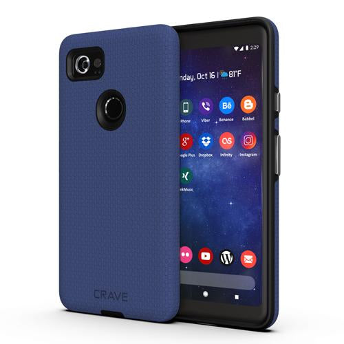 Navy Blue Google Pixel 2 XL Case Two Dual Guard Cover by Crave var-8119624466545