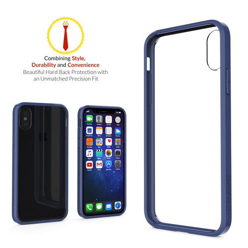 Navy Blue Apple iPhone X 10 Case Crave Slim Guard Clear Cover var-4929502707753