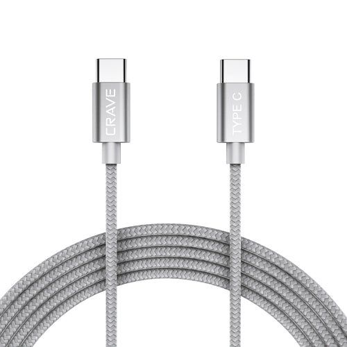 Type C Braided Nylon Cable by Crave  Silver var-5011842367529