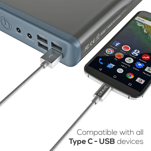 USB to Type C Braided Cable by Crave Silver var-5011847938089