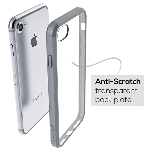 Grey Gray Apple iPhone 7 8 Case Crave Slim Guard Clear Slate Cover var-4929502806057