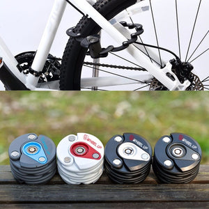 High Quality Steel Anti Theft Bicycle Chain Lock Foldable Mini Bike Security Lock Zinc Alloy Cycling Hamburg-Lock