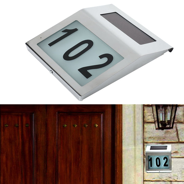 Solar Wall Lamp Home Road Signs Number Digital LED Light