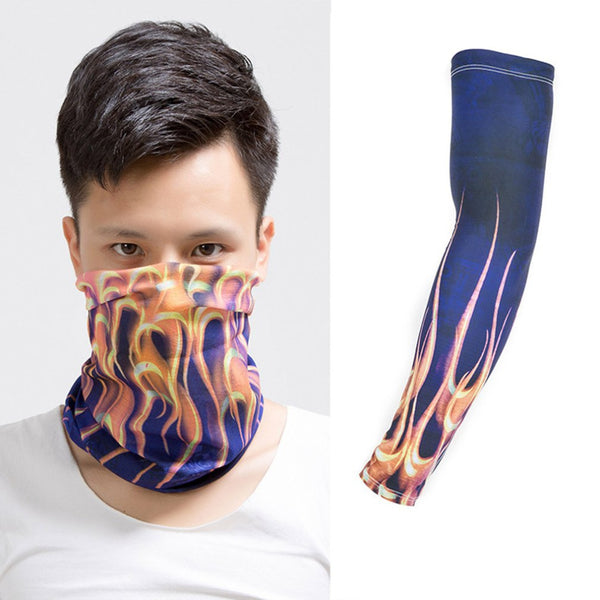 Arm Sleeve Protection Riding Hiking Seamless Magic Face Cover Ice Sunscreen Scarf Set Cuff Group New