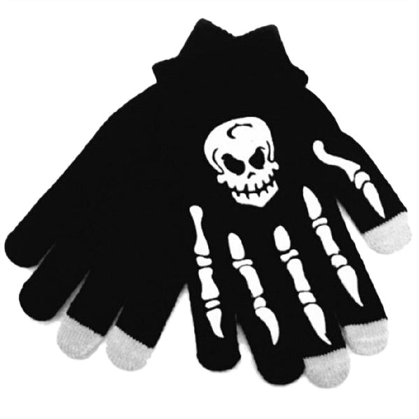 White Skull Winter Warm Gloves Touch Screen Gloves Windproof Sports Gloves