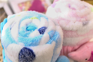Plush Elephant Blanket In Baby Blue and Pink