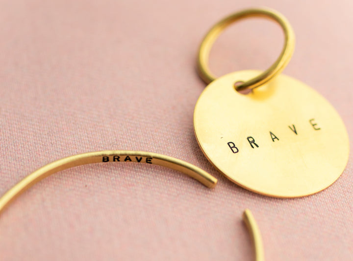 """You are Brave"" Cuff and Keychain Set"