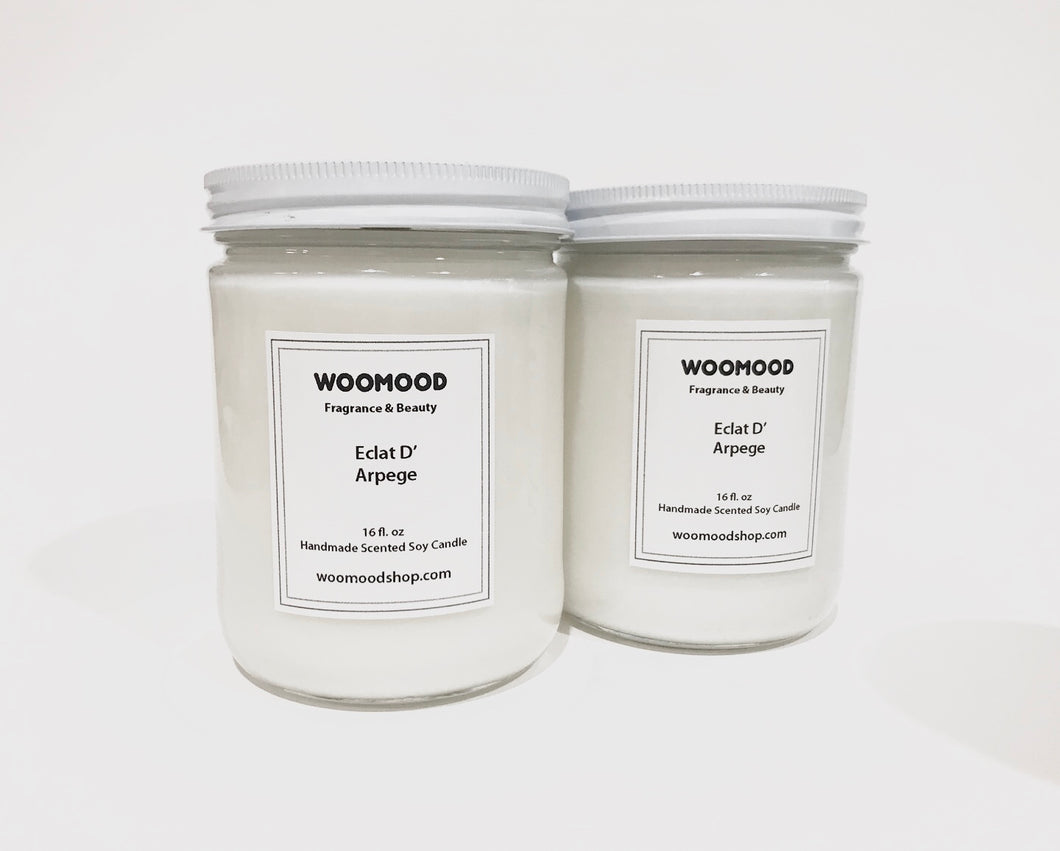 Set of 2 Soy Wax Jar Candle 16 oz