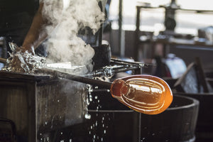 Molten glass in an art studio
