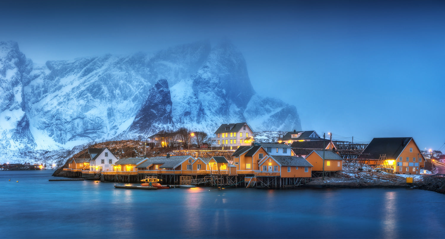 Serene nordic community near the water in winter
