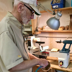 Dad at his lathe