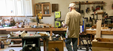 Dad in his Portland workshop - his happy place