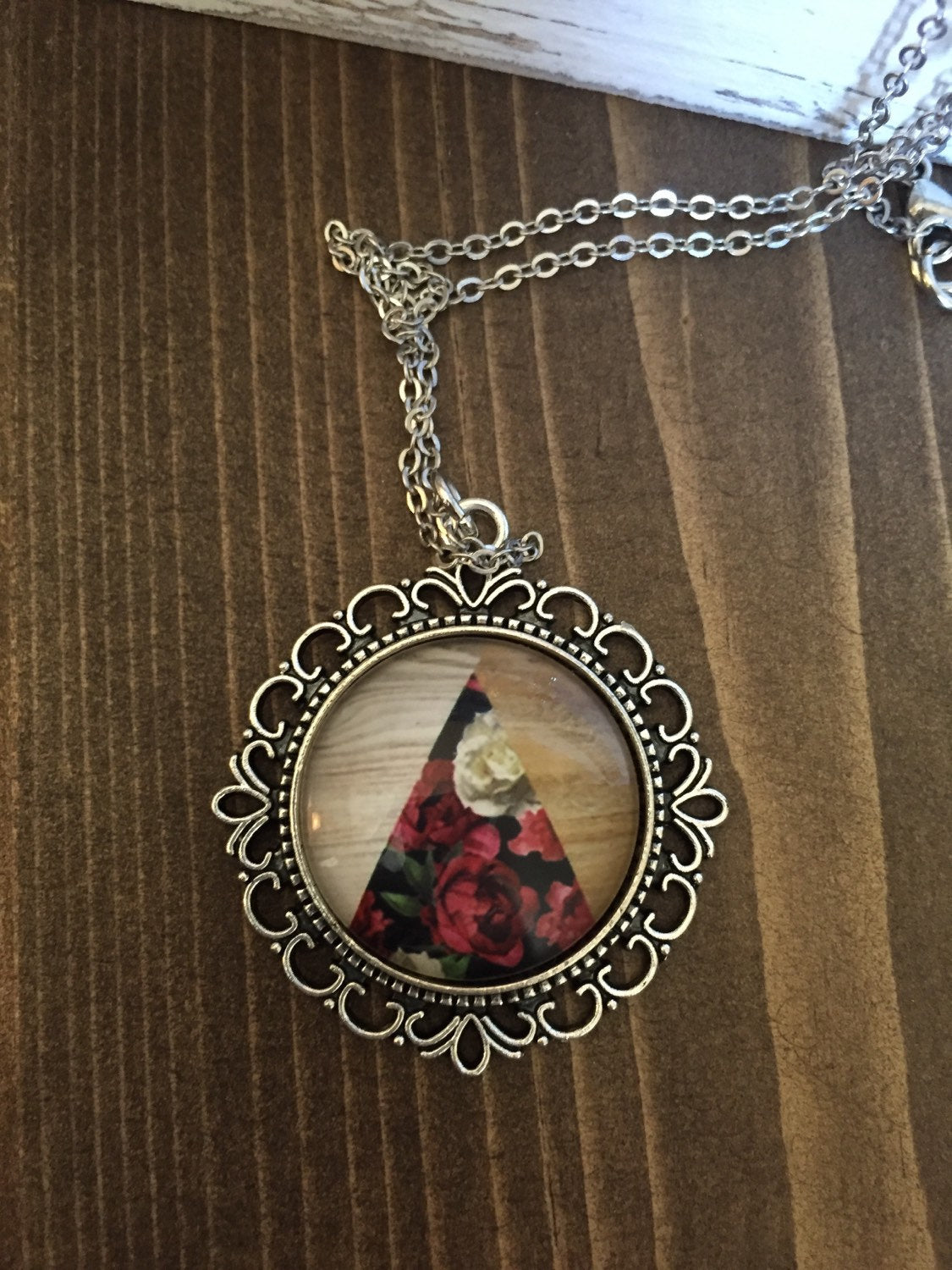 Red Floral Wood Necklace Vintage Inspired Antique Silver