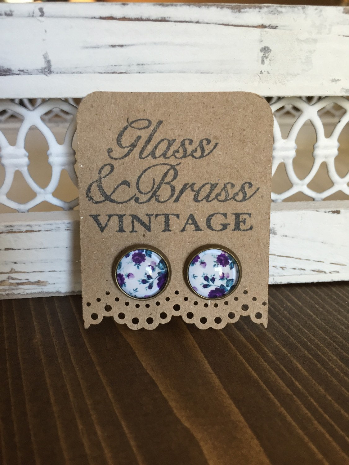 Purple Vintage Floral Earrings Antique Brass