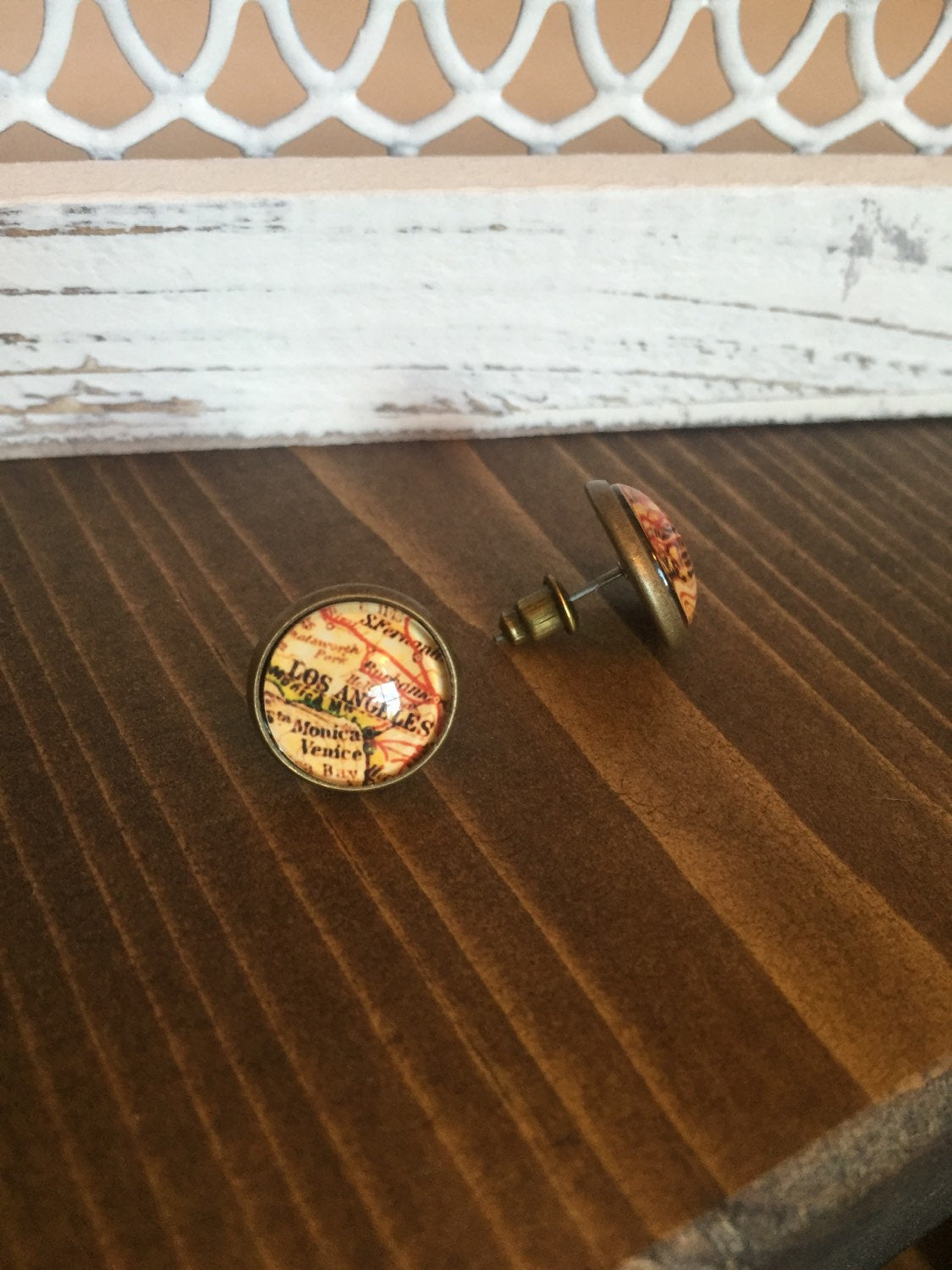 Los Angeles Map Earrings Studs Antique Brass