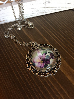 Purple Green Floral Necklace Antique Silver