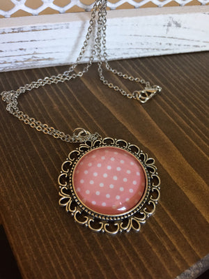 Dusty Pink Polka Dot Necklace Vintage Inspired Antique Silver