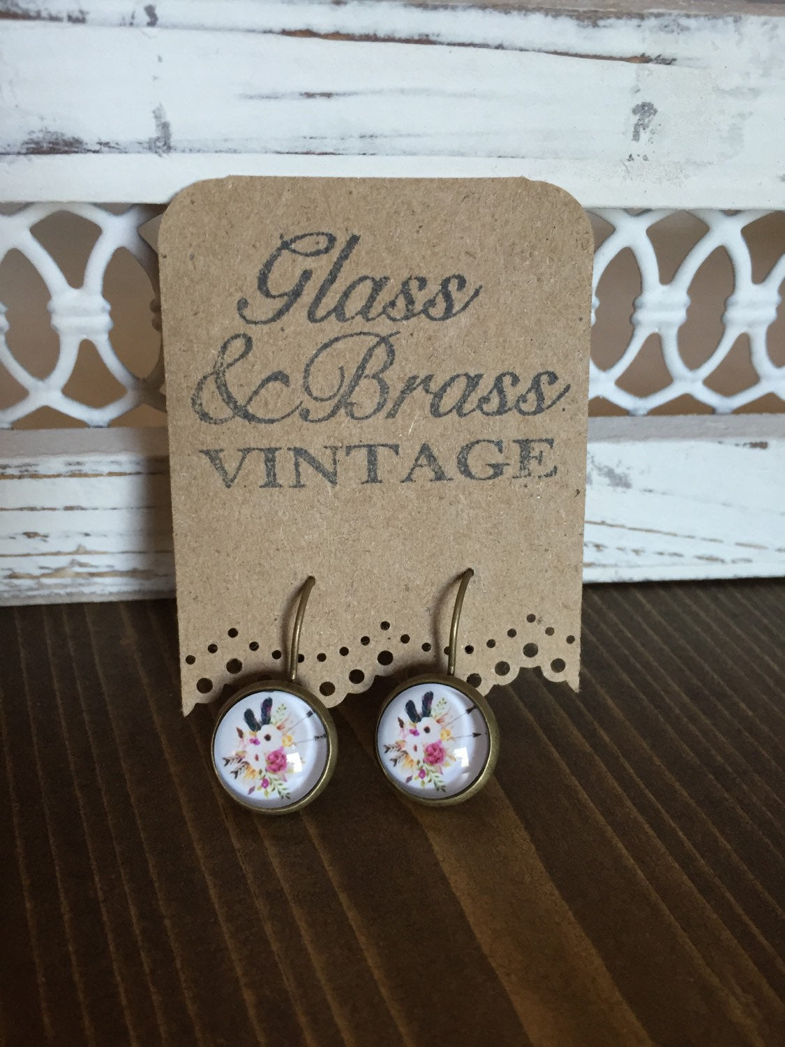 Floral Arrows Earrings Antique Brass