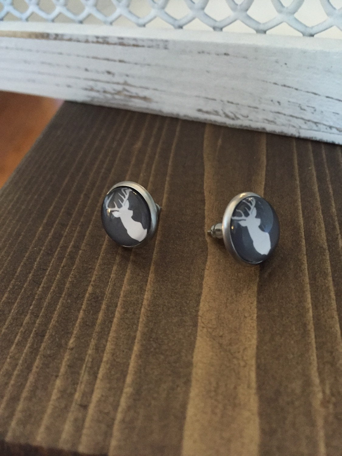 Grey White Deer Earrings Stainless Steel Studs