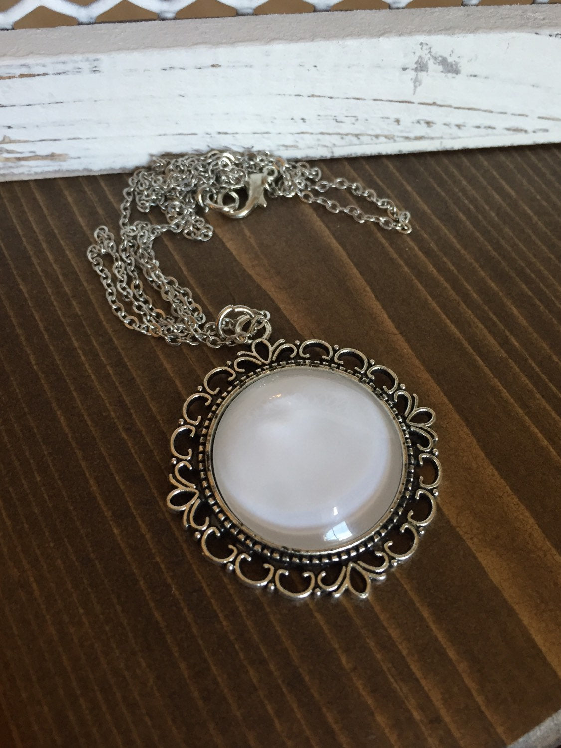 White Necklace Antique Silver
