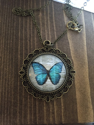Vintage Blue Butterfly Necklace Antique Brass