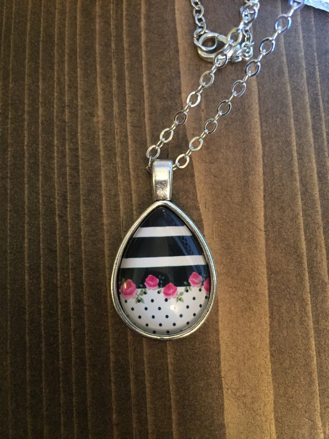 Stripes Polka Dots Pink Floral Teardrop Necklace Antique Silver
