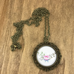 Floral Pink Peony Necklace Antique Brass