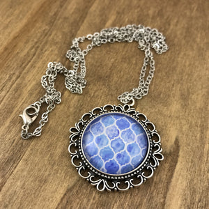 Blue Tile Necklace - Antique Silver