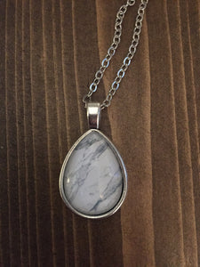 Marble Necklace - Antique Silver