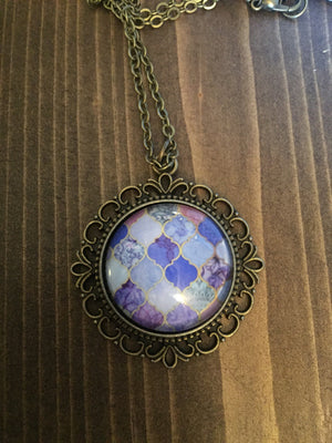 Purple Marble Ornate Necklace Vintage Inspired Antique Brass