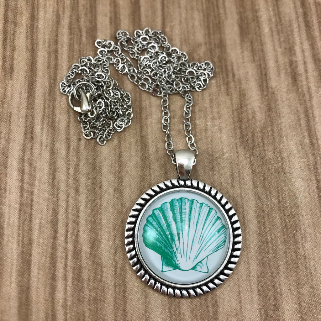 Green Shell Nautical Necklace Antique Silver