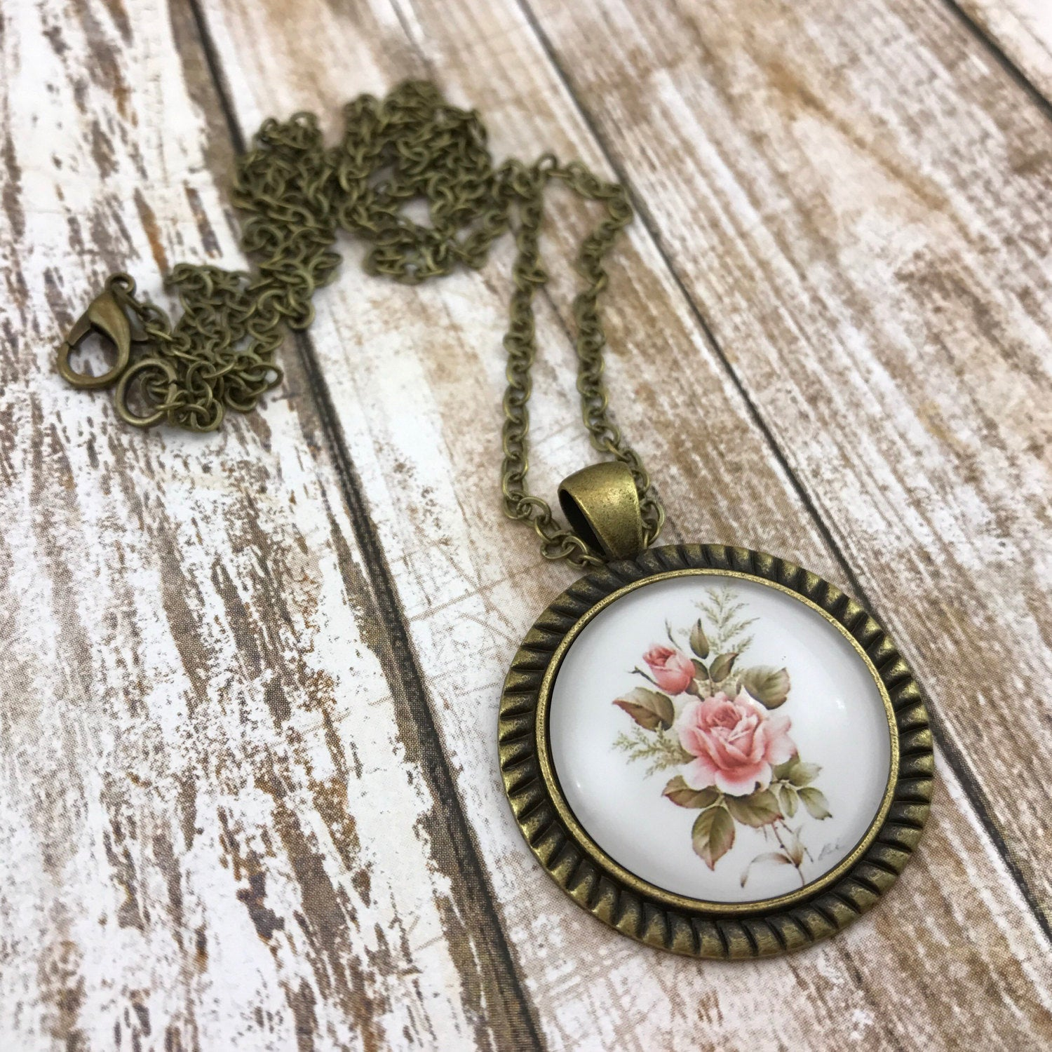 Pink Rose Necklace Antique Brass
