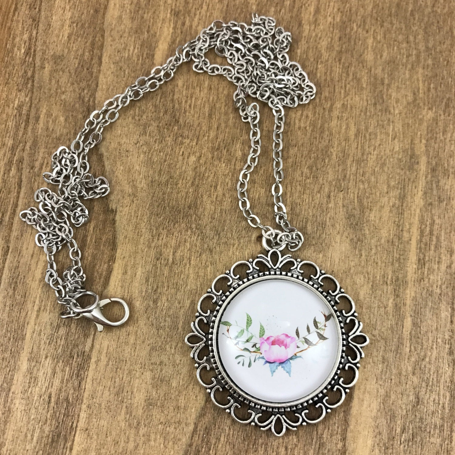 Floral Pink Peony Necklace Antique Silver