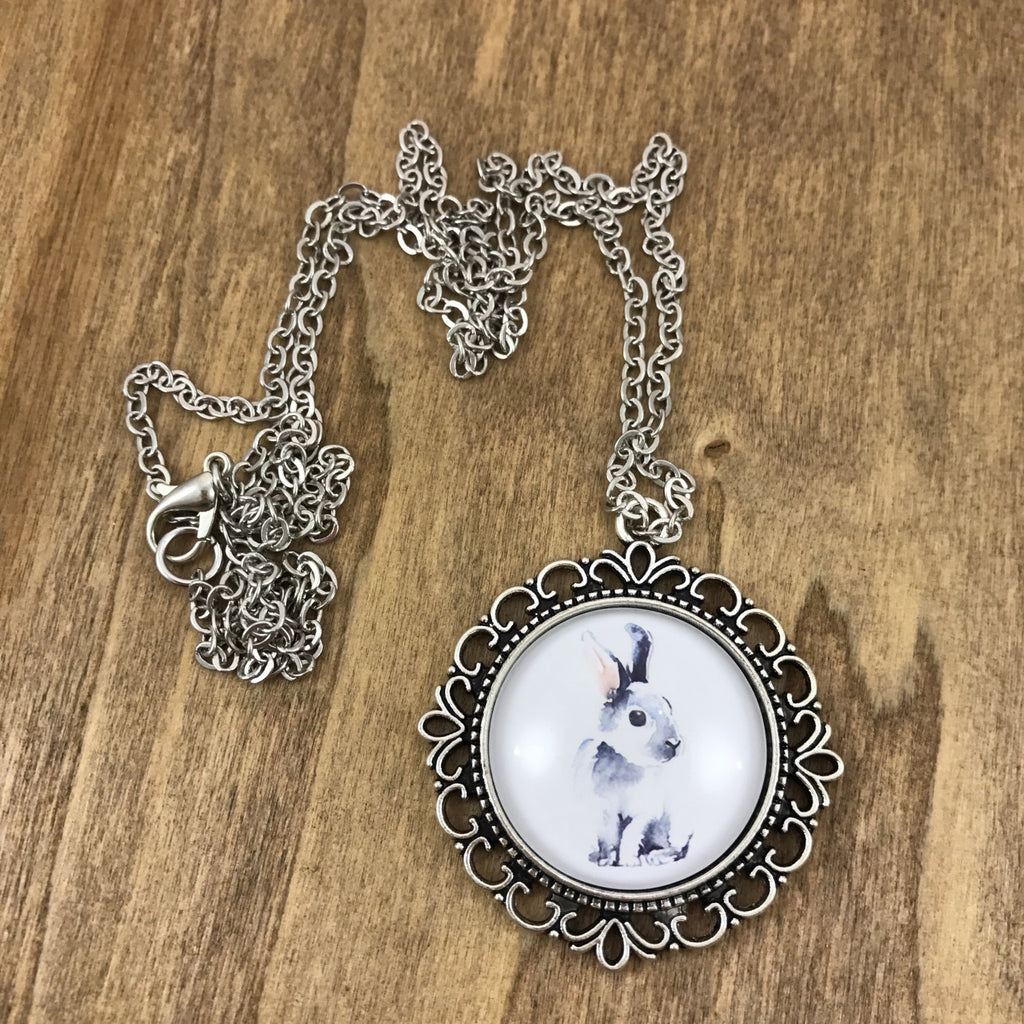 Rabbit Necklace - Antique Silver