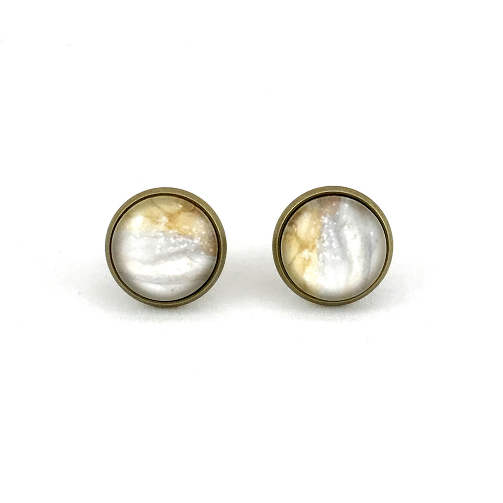 Tan Grey Marble Earrings Antique Brass