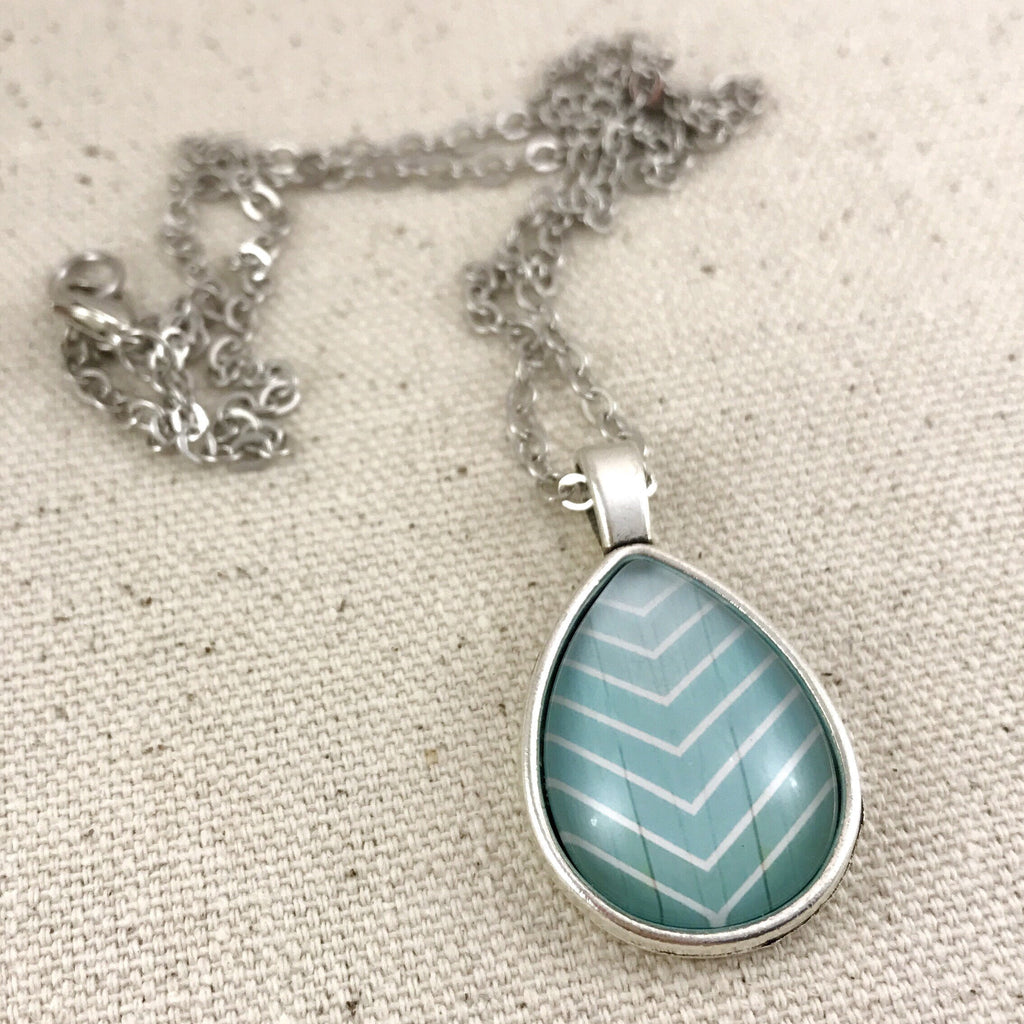 Blue Chevron Teardrop Necklace Antique Silver