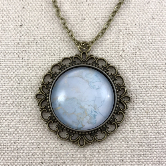 Blue Marble Necklace - Brass