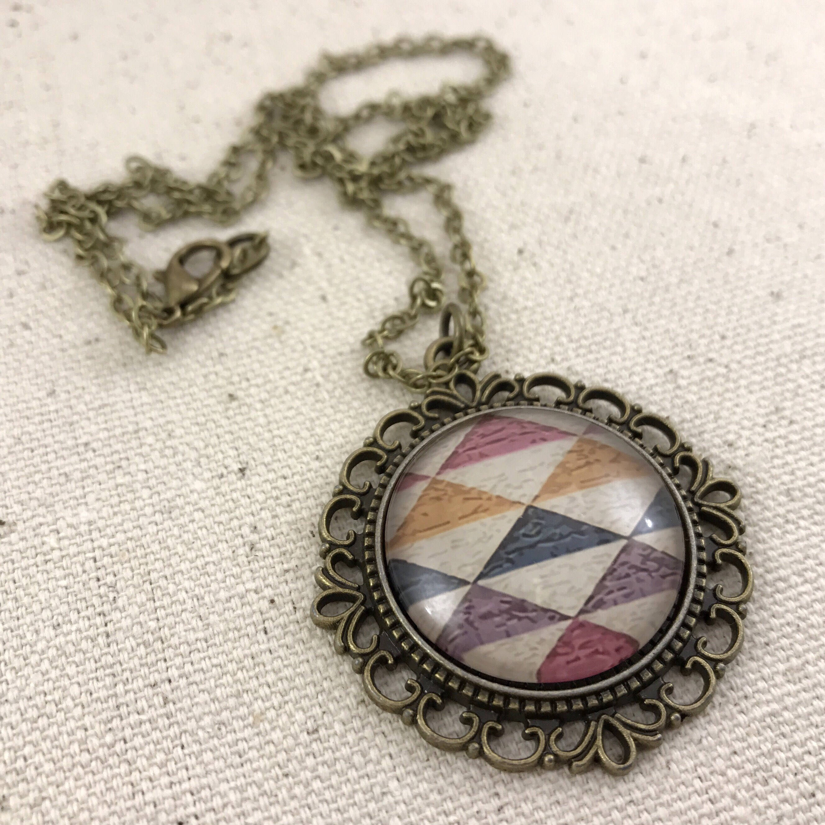 Geometrical Necklace Antique Brass Purple Orange Blue