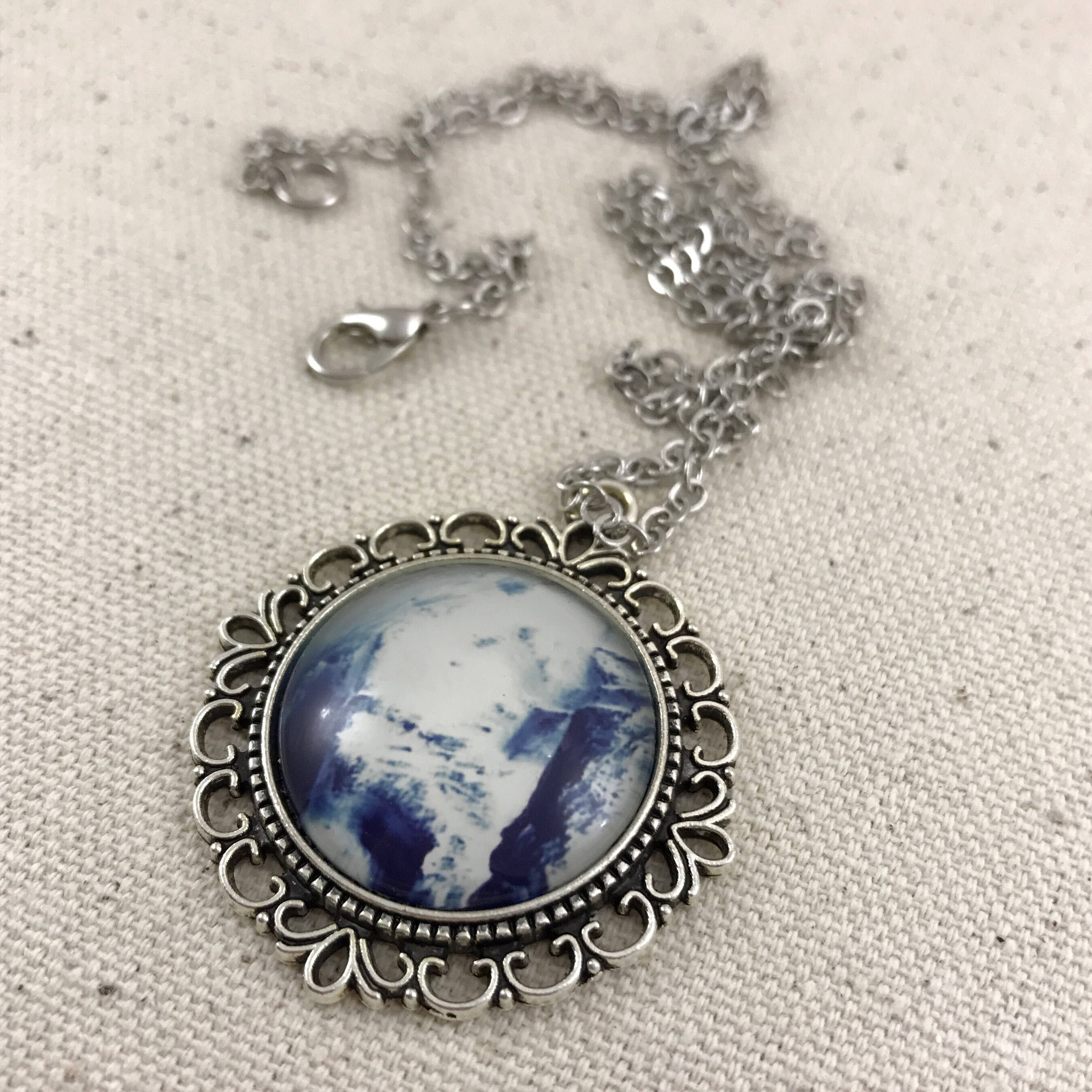 Blue Marble Necklace - Antique Silver