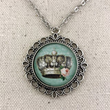 Crown Necklace - Antique Silver
