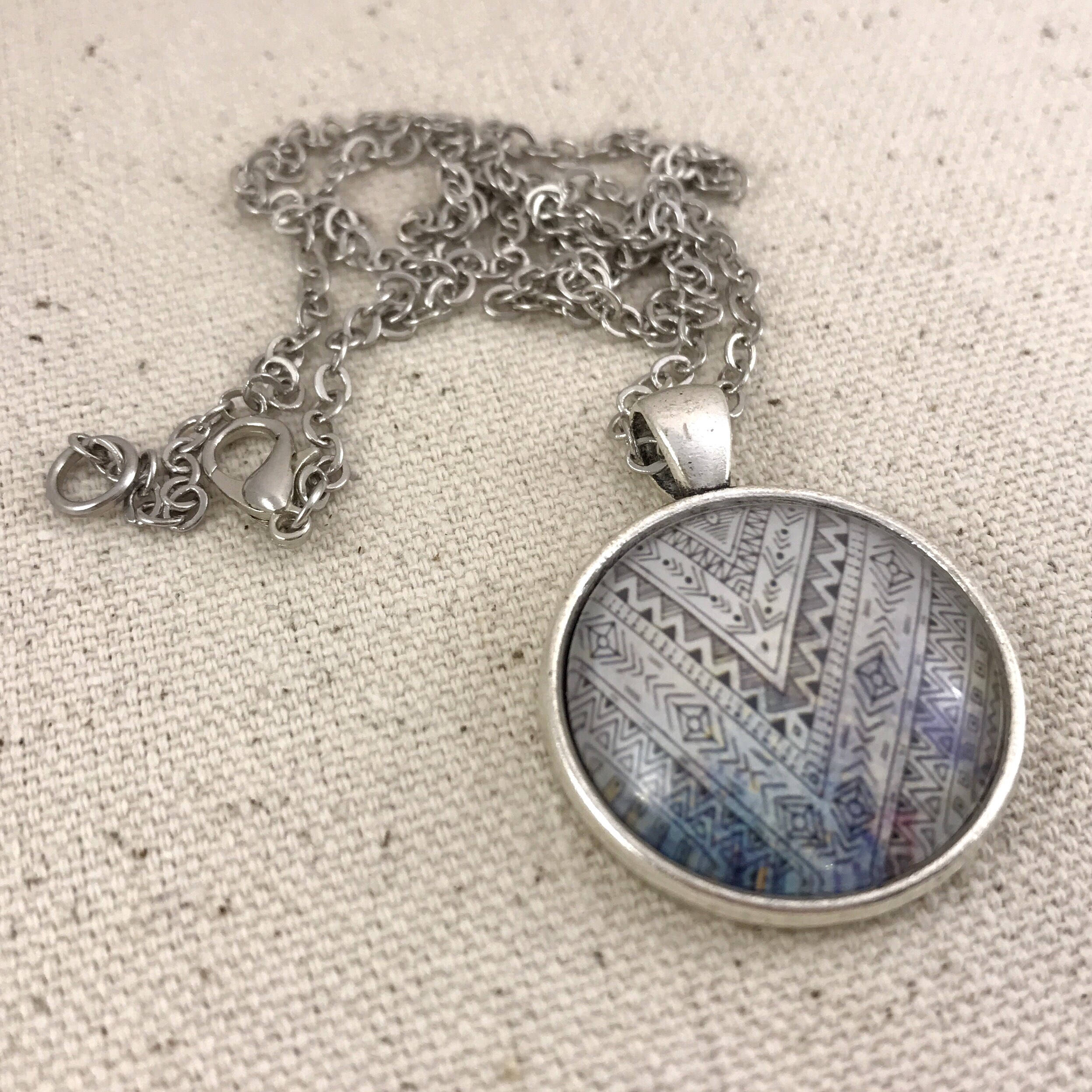 Boho Design Necklace - Antique Silver